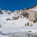 A half-frozen Lower Boyscout Lake.- Mount Whitney: Winter Mountaineers Route