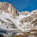 Lower Boyscout Lake partially melted.- Mount Whitney: Winter Mountaineers Route