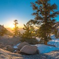 Sunrise near Lower Boyscout Lake.- Mount Whitney: Winter Mountaineers Route