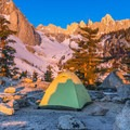 Camping near tree line on Mount Whitney.- Mount Whitney: Winter Mountaineers Route