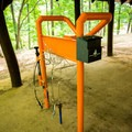 Bike maintenance racks are located at each trailhead.- Paris Mountain State Park