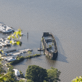 A marina in Cornwall-on-Hudson.- Storm King Mountain