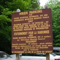 A parking area notice.- Gill Brook Trail