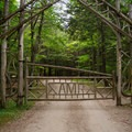 The main gate on Lake Road Way.- Gill Brook Trail
