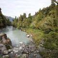The small beach and swimming hole at Hokitika Gorge.- Hokitika Gorge