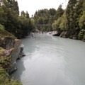 Looking back at the suspension bridge from the beach.- Hokitika Gorge