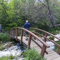 Crossing one of many bridges.- Cascade Springs