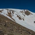 Box Creek Couloir is a popular ski route down after summiting.- Mount Elbert East Ridge Hike