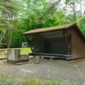 A typical lean-to site at Mount Ascutney State Campground.- Mount Ascutney State Park Campground