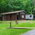 Restrooms in the southern campground loop.- Mount Ascutney State Park Campground