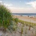 Dunes making way for a view of the south inlet beach.- Delaware Seashore State Park