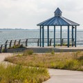 A path leading to a gazebo with views over the inlet.- Delaware Seashore State Park
