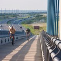 A couple cycles over the Charles W. Cullen Bridge.- Delaware Seashore State Park