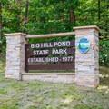 The entrance sign off Highway 57.- Big Hill Pond State Park