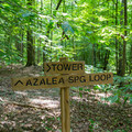 A crossing sign to the tower.- Big Hill Pond State Park