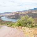 The road down to Apache Lake.- Apache Lake Campground + Marina