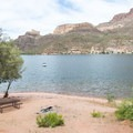 A campsite right on the lake.- Apache Lake Campground + Marina