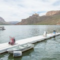 One of the docks near the campground.- Apache Lake Campground + Marina