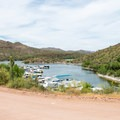 The marina.- Apache Lake Campground + Marina