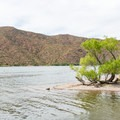 Unique desert lake scenery.- Upper Burnt Corral Recreation Site