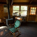A wood stove keeps the main lodge nice and toasty in the colder months.- Lonesome Lake AMC Hut