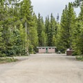 Restrooms are near the mid-point of each loop.- Fishing Bridge RV Park