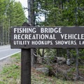 The entrance to Fishing Bridge RV Park.- Fishing Bridge RV Park