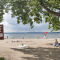 The entrance to the beach from the road.- Croton Point Beach