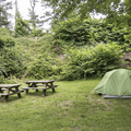 Picnic tables are at each campsite.- Croton Point Campground