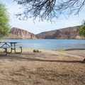 A picnic table in the shade.- Palo Verde Recreation Site