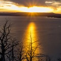 Sunset over Yellowstone Lake.- Lake Butte Overlook