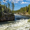 Looking upstream from the upper falls.- Brink of Upper Yellowstone Falls
