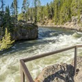 Viewing the Yellowstone River upstream of the falls.- Brink of Upper Yellowstone Falls