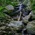 A waterfall along side the trail.- Mount Mansfield via Hell Brook + Long Trails