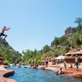 Fun cliff jumps just below the waterslide.- Slide Rock Swimming Hole