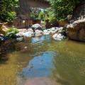 Oak Creek and the AZ-89A bridge.- Slide Rock Swimming Hole