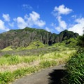 The first mile of the trail follows an inclined access road.- Mount Ka'ala