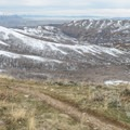 A view of City Creek Canyon and the Great Salt Lake.- Little Black Mountain