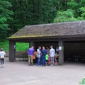 Group picnic shelters near the caves.- Maquoketa Caves