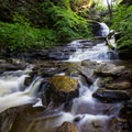 Huron Falls flowing over the rocks.- Ricketts Glen State Park