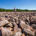 A hiker standing in the vast expanse of the Boulder Field.- Hickory Run State Park