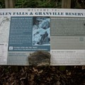 Learn about the falls and the Granville Reserve from informational signage along the trail.- Moss Glen Falls