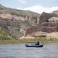 Entering the red sandstone canyon.- Colorado River: Ruby Horsethief Canyon