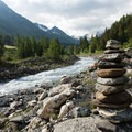 Cairns along the right just after La Fouly.- Tour Du Mont Blanc: Stages 7 + 8