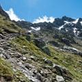 Looking back toward the pass.- Tour Du Mont Blanc: Stages 7 + 8