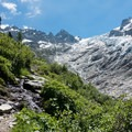Trail and glacier behind you on the descent.- Tour Du Mont Blanc: Stages 7 + 8