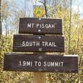 Signage at the trailhead.- Mount Pisgah via South Trail