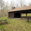 The picnic shelter.- Underhill State Park Campground