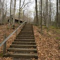 Stairs leading to the picnic shelter.- Underhill State Park Campground