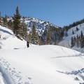 Heading up Grizzly Gulch.- Wolverine Cirque